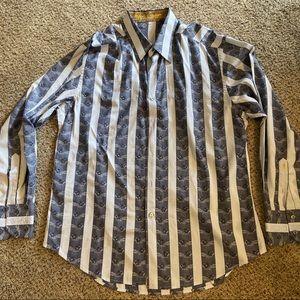Robert Graham Stripe Embroidered Button Down Shirt